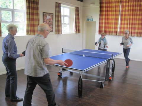 Table tennis in the village hall